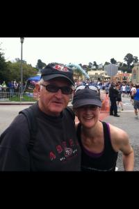 Kim celebrating her 10th Wharf to Wharf with her dad! So sweet!